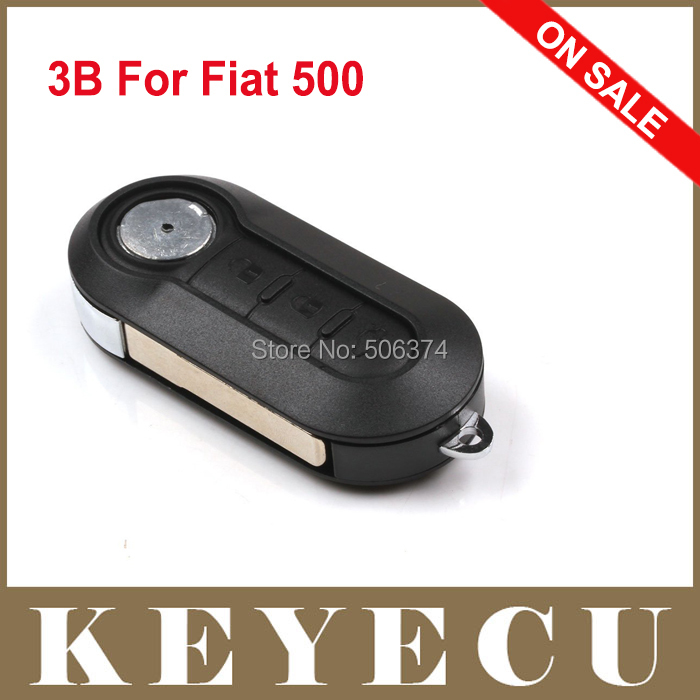 Promotion Item Replacement Shell Folding Flip Remote Key Case 3 Button for Fiat 500 With Black Silicone Cover Combo Shell(China (Mainland))