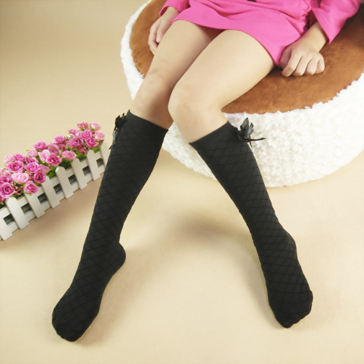 free size 2 8 year Old Toddler kids Children Reseau Cotton Socks Bowknot Knee high Baby