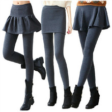 2015 New Fashion Leggings Skirt With Pants Solid Skinny Autumn Footless Legging Fake Two Pieces Pencil Pants 3 Styles DD8237(China (Mainland))