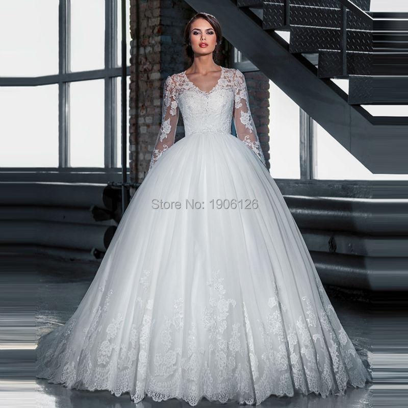 Robe noiva renda dentelle à manches longues musulmane robes de mariée turquie robes de mariée tribunal