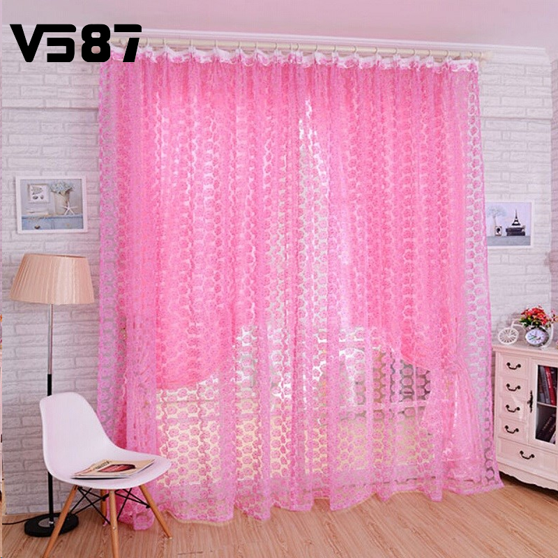 Hot Flower Print Floral Voile Window Curtain Panel Home Door Bedroom Divide Screen Decoration