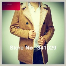 The new 2014 authentic men overcoat in the men's fashion trench coat of cultivate one's morality long free shipping(China (Mainland))