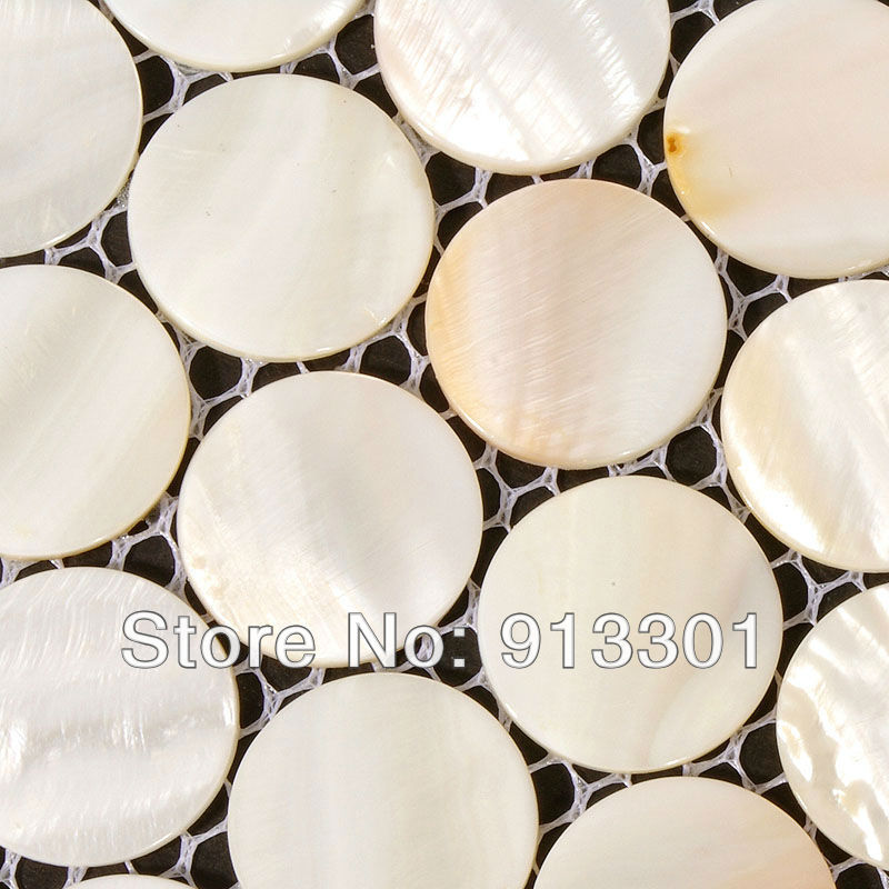 Round glass tile backsplash