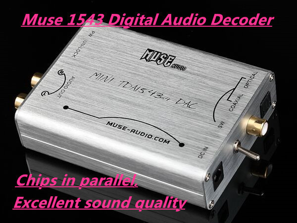 Muse mini 1543 * 4 DAC Decoder TDA 1543 DIR9001 Fiber Coaxial Input Analog output DAC(China (Mainland))