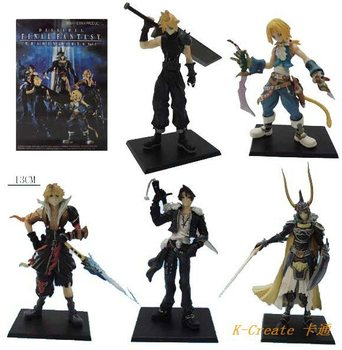 Free shipping 5pcs Japana anime pvc Final Fantasy action figure toys tall 13cm set.Promitional 1generation Final Fantasy toy.