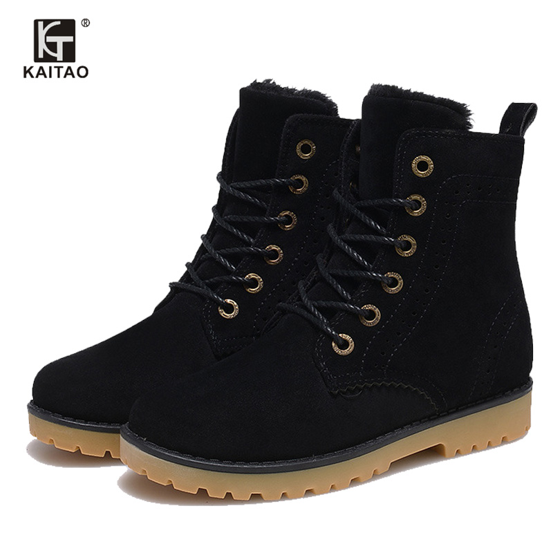 KAITO High Quality Women Boots Winter Casual Brand Warm Shoes Men Unisex Men Boots Leather Plush Fur Fashion Boots Shoes Woman(China (Mainland))