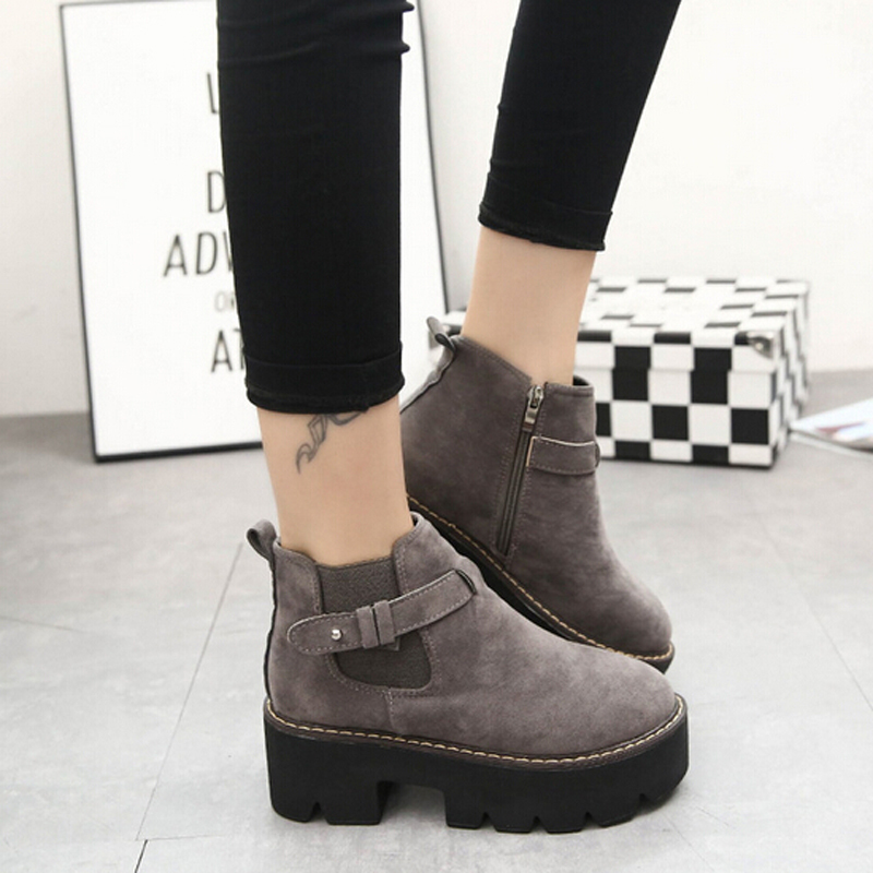 Autumn Shoes Woman Platform Boots 2015 Buckle Zip Suede Ankle Boots Women Punk Round Toe Flats Shoes(China (Mainland))