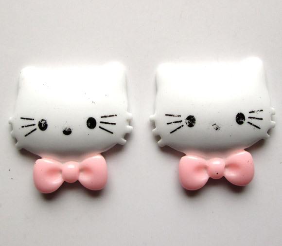 20 Resin White Bowknot Hello Kitty Embellishment Flatback Cabochon 35x34mm(China (Mainland))