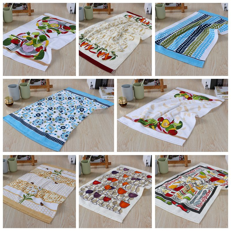 100% Cotton Pattern Printed Face Hand Towel Quick-Dry Tea Kitchen Cooking Towel Good Absorption 43x63cm(China (Mainland))