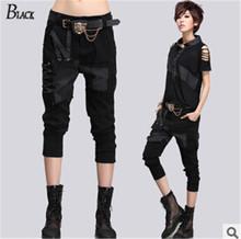 2015 New Women casual harem pants & capris Rock denim pants hip-hop jeans patch holes Summer fashion harem pants thin section