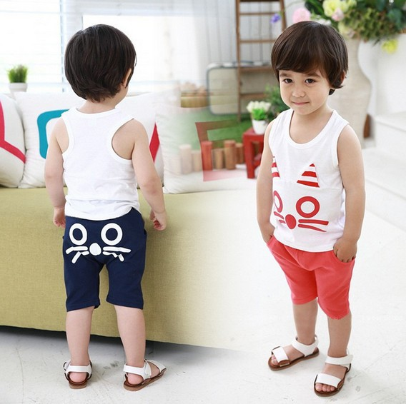 2014 New summer baby boy suit white cotton cat vest + navy blue shorts 2pcs set kids suit boys casual clothing set 5set/lot<br><br>Aliexpress