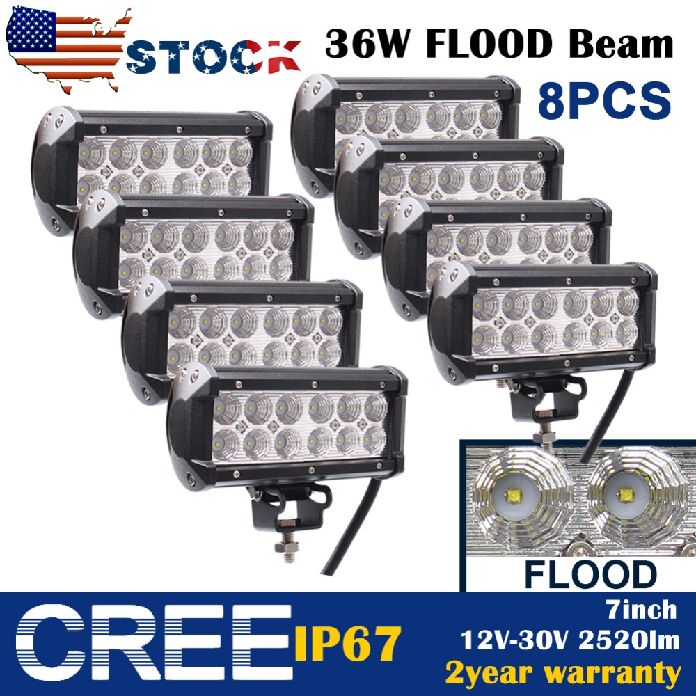 8pcs 7Inch 36W Cree Led Work Light Bar Flood Beam For Suv Truck 4WD Off-road Jeep 4X4(China (Mainland))