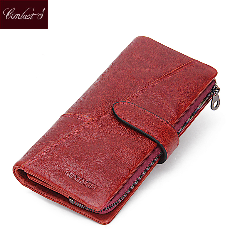 Contact's Women Wallets Brand Design High Genuine Leather Wallet Female Hasp Fashion Dollar Price Long Women Wallets