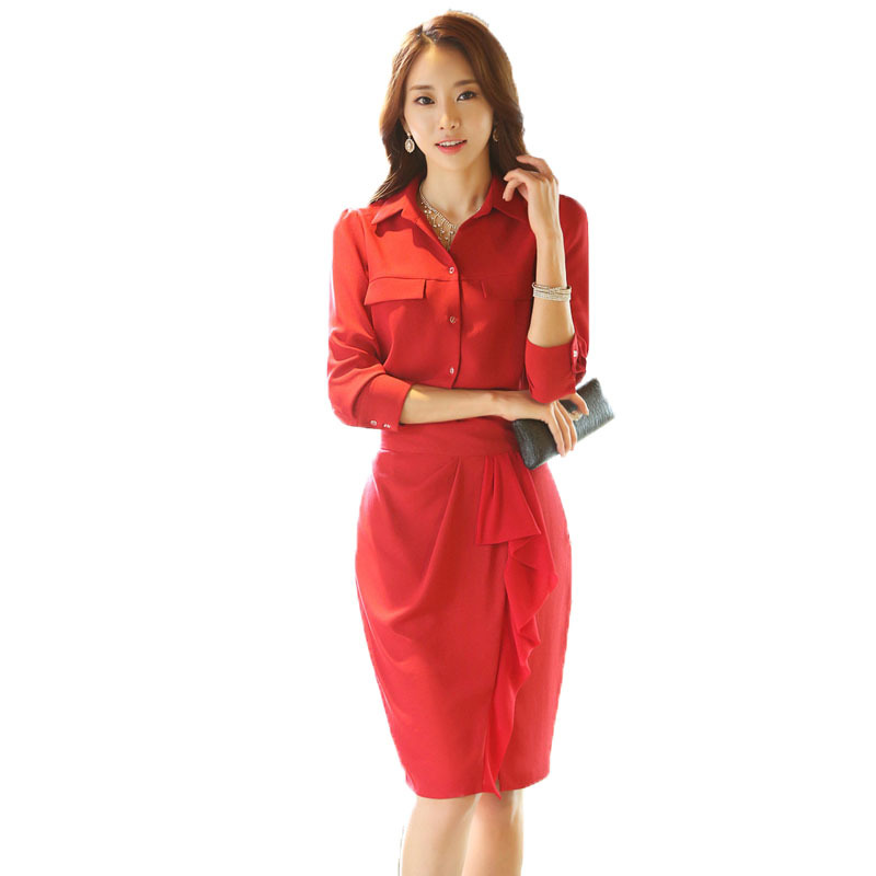 Business Silk Dresses Red