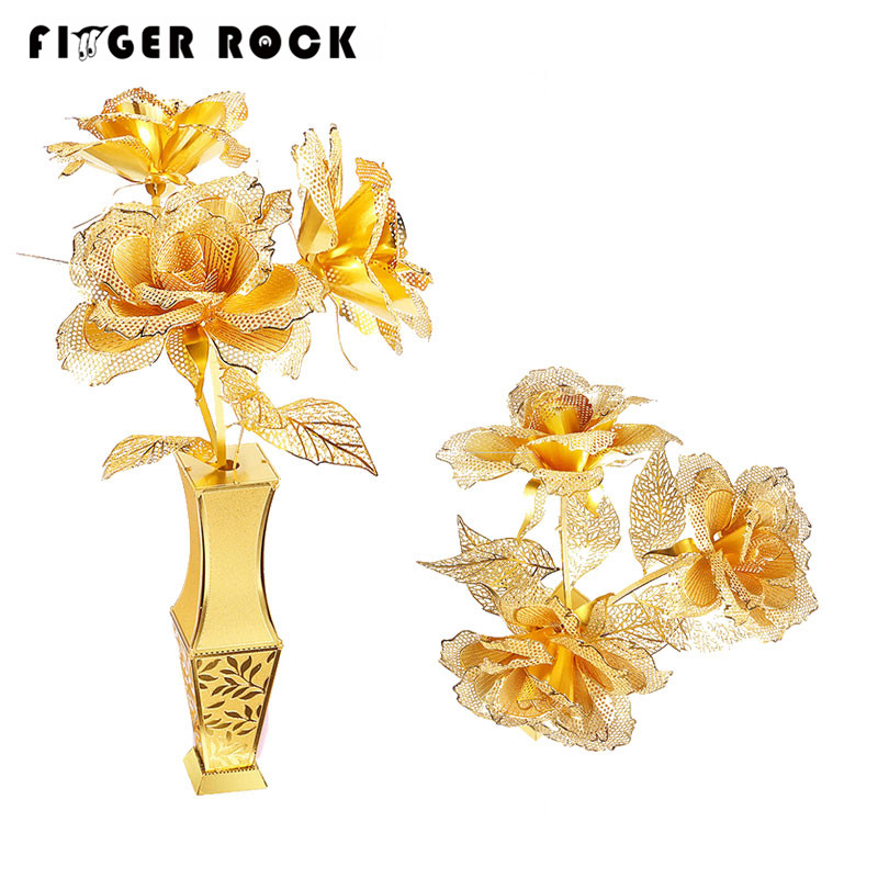 Finger Rock Golden Rose 3D Puzzle Simulation Metal Flowers Model DIY Stainless Steel Jigsaw Toys Valentine's Day Gift(China (Mainland))
