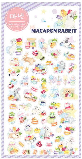 Kawaii Stationery Stickers Macaron Rabbit translucent Diary Planner Note Diary Scrapbooking Albums PhotoTag Manet S07