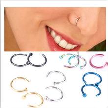 1 unids Medical ventana de la nariz Titanium Gold Silver nariz del aro anillos en la nariz clip de la nariz del anillo de nariz Fake Piercing para mujeres joyería del cuerpo(China (Mainland))