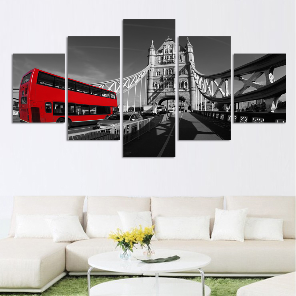 Fashion Black and white style scenery painting canvas print wall art picture for home decorations HD Bridge and red bus picture(China (Mainland))
