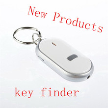 2015 New Locator Find Lost Key White LED Finder Chain Keychain Whistle Sound Control 1pc free