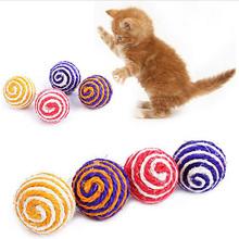 Большая Распродажа Кошка Сизалевые Веревки Тканые Бал Тизер Играя Жевательная Царапинам Поймайте Погремушка Игрушка