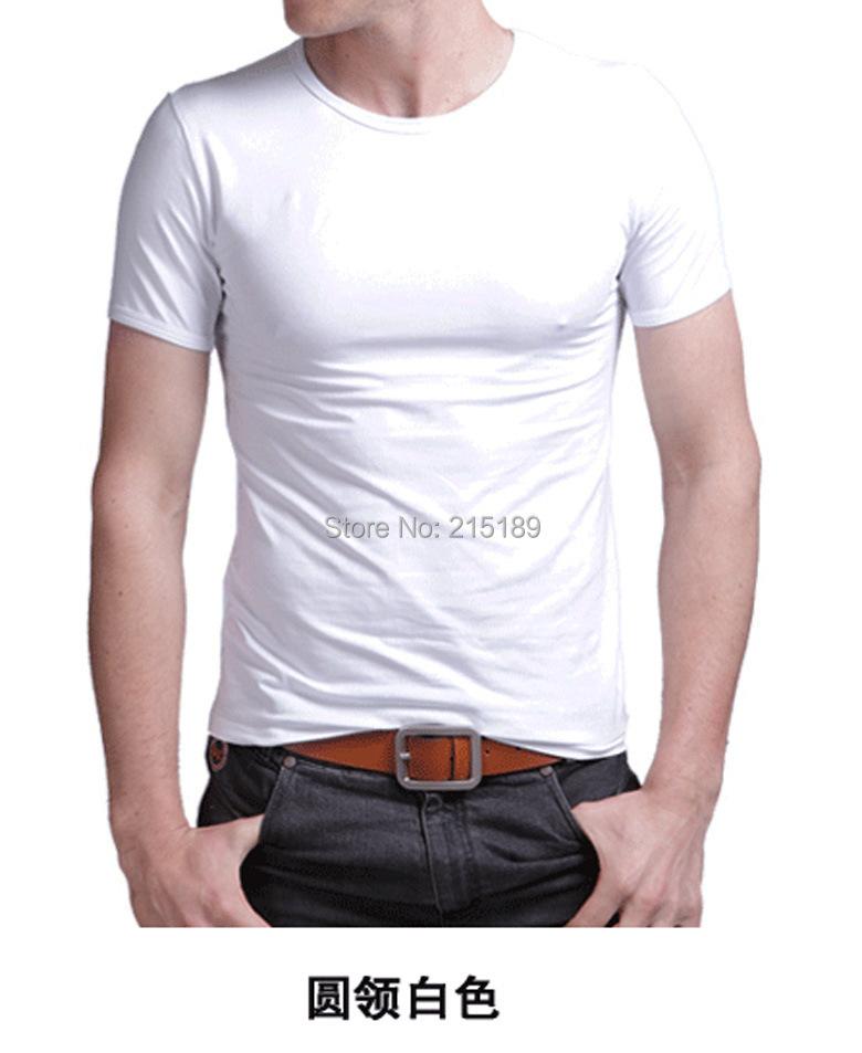 High qulity White Mens Fruit of the Loom Heavy Cotton Plain Blank Short Sleeve T shirt Tee Shirt slim tight O neck(China (Mainland))