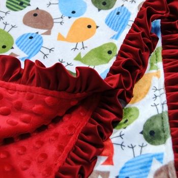 Girl Stroller Blanket Size 50cm*68cm Red Minky Dot & Bird Print Elegant Packaging Can Be Birthday Gift To Children Summer Style.(China (Mainland))