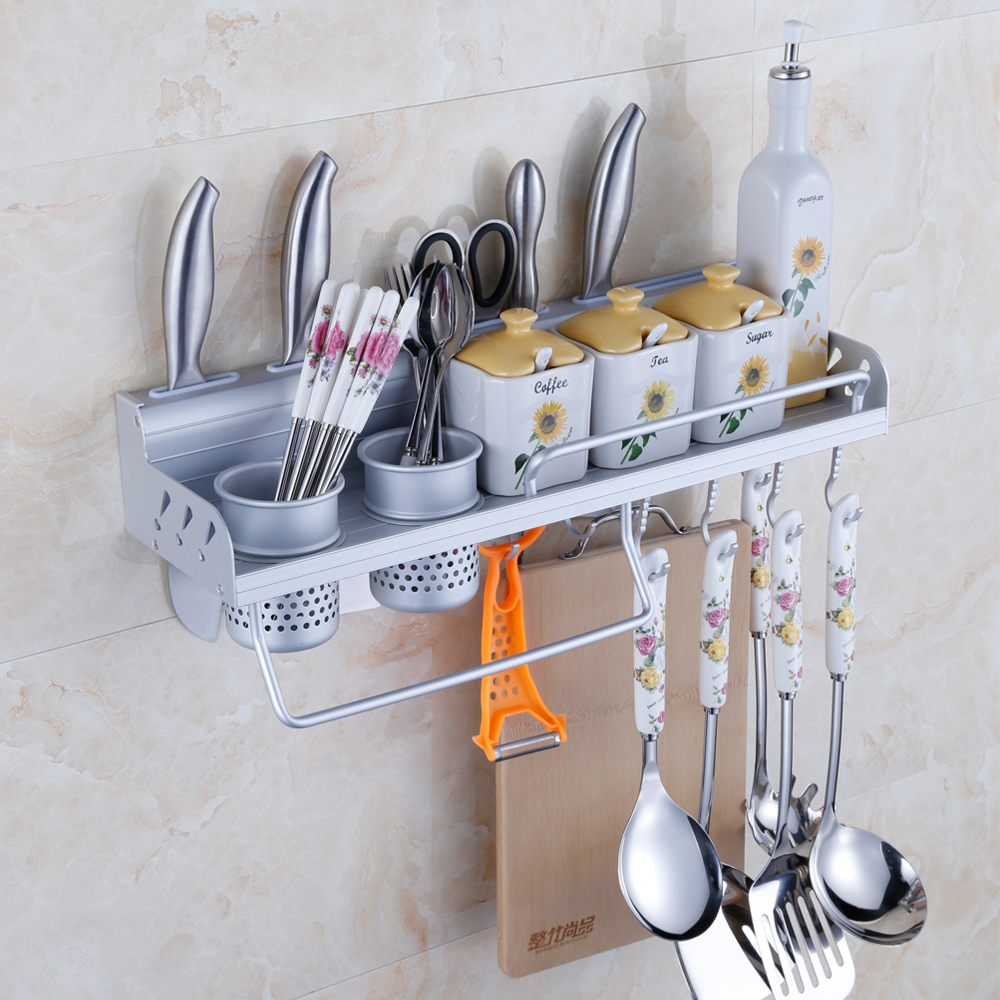 50cm 2 cup spice rack wall mounted shelf for kitchen aluminum kitchen storage rack tool holder - Wall mounted spice racks for kitchen ...