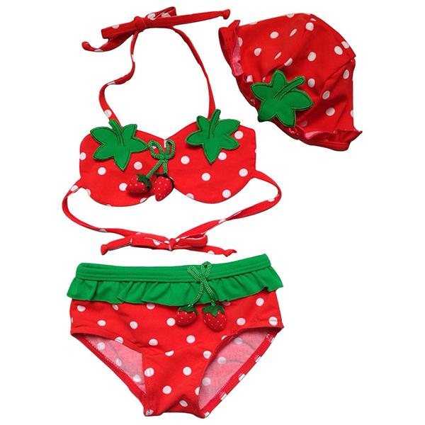 Kids Girls Swimsuit Bikini Suit Split Bikini Swimwear & Swimming Cap 3 PiecesTankini 1-7Y(China (Mainland))