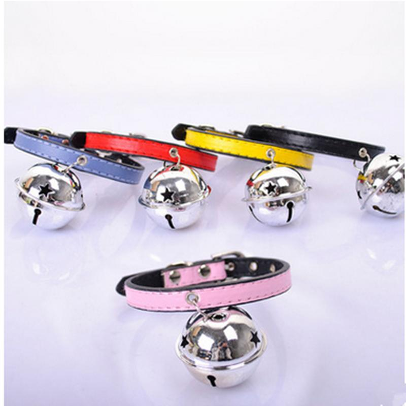 Recommend 5 Colors Optional beautiful Bell Adjustable Leather Dog Puppy Pet fashion Collars Necklace,Collars For Dogs,Cat collar(China (Mainland))