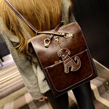 Dog Cartoon Character Fashion Female Backpack Leather College Student Satchel Travel Schoolbag Ladies Package Large Package(China (Mainland))