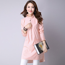 2016 Summer chiffon blouse ladies White and Pink elegant ruffled long sleeve women shirt female office shirt(China (Mainland))