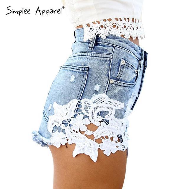 Simplee Одежда 2016 разорвал карманный женщины шорты Летние случайные джинсовые шорты ...