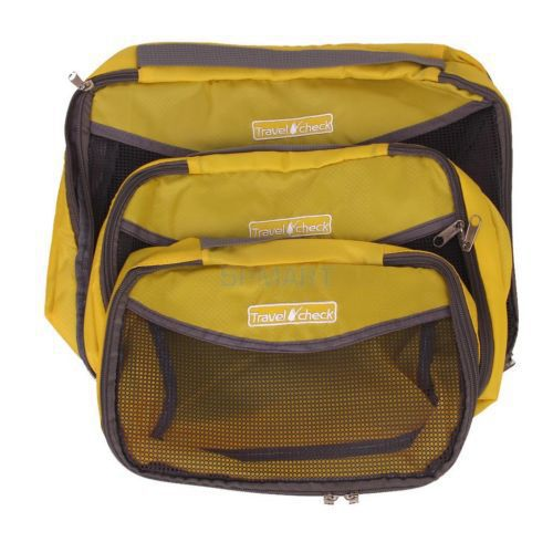 Yellow Portable Travel Necessity Storage Bag For Luggage Clothes Suitcase Tidy Kit Pouch Zipper Mesh Packing Organizer S M L(China (Mainland))