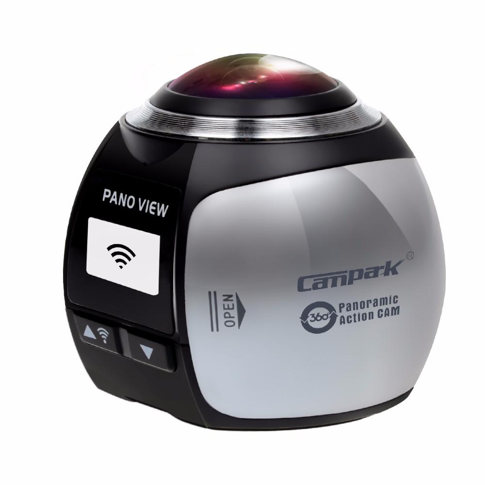ถูก Campark 16MP 3พัน(2448*2448/30fps) 360องศาพาโนรามาVRการกระทำกล้อง,เลนส์ทรงกลม, 3D,กันน้ำ, WIFI,ที่มีVRชุดหูฟังแก้ว