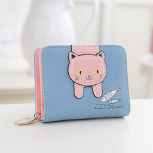 Women cute cat wallet small zipper girl wallet brand designed pu leather women coin purse female card holder wallet(China (Mainland))