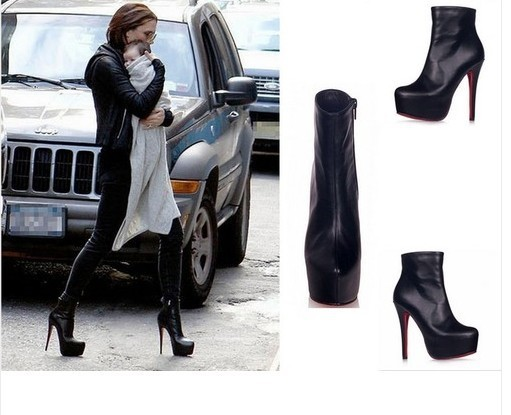 Sexy Womens Stars Ankle Boots Platform Killer Heel Pump Black Party Nightclub