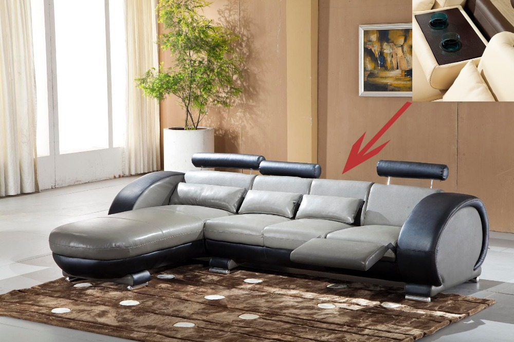 2015 Recliner leather sofa set Living room sofa set with reclining chair #9003 wich cupboard(China (Mainland))