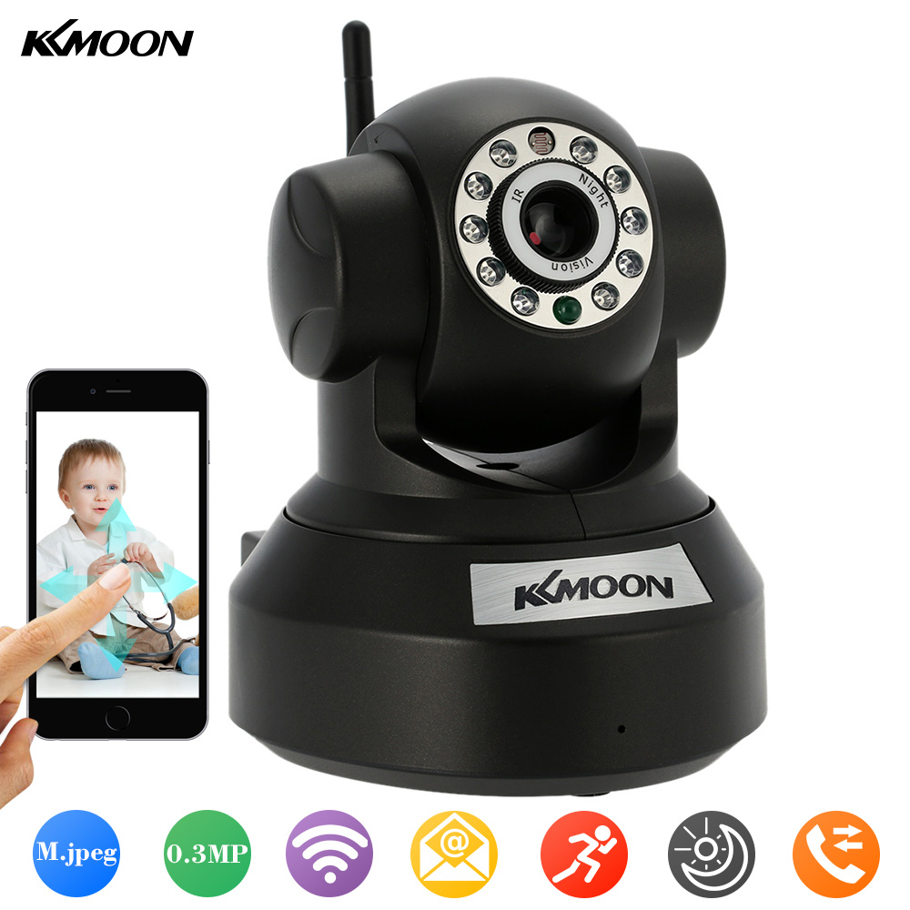 KKMOON Wireless Wifi IP Camera P2P IR-Cut Night Vision Audio Recording Network 0.3MP Onvif CCTV Security Camera Mini IP Camera(China (Mainland))