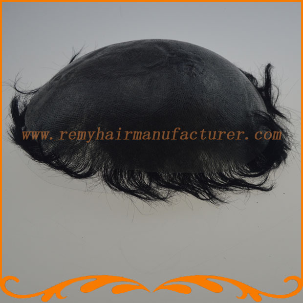 Full PU thin skin toupee ,injection knot,Indian hair ,mens wigs,mens hair piece stock free shipping(China (Mainland))