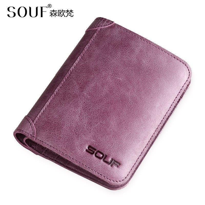 Women 100% Genuine Leather Wallet Lovers Vertical Section Luxury Clutch Bag Korean Casual Fashion Mini Ultra-Thin Short Purse(China (Mainland))