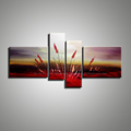 4 panel wall art canvas abstract red handmade interior room decoration oil painting canvas wall picture