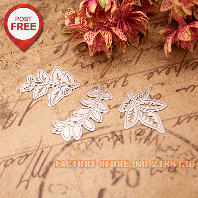 3pcs Leaves- Etched craved DIY Metal Die cut Scrapbooking photo album Decorative Embossing Folder Stencil 6x3cm 4.8x4cm 4.5x4cm(China (Mainland))