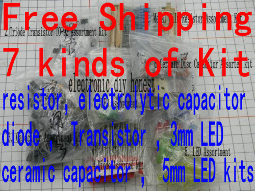 Free shipping ! Seven Common Electronic Component Kits package , Resistor ,capacitor ,trasistor, diode ,led Assortment Kit DIY(China (Mainland))