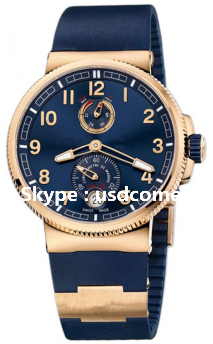 Brand New Luxury Marine Chronometer Manufacture Blue Dial Men's Automatic 43mm Date Watch 11861263/63 Free Shipping(China (Mainland))