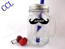 Little Man Mason Free shipping Jar Mustache Wedding Chalkboard Labels Tags Bachelor Party Favor Wine Drink Glass Photo Props