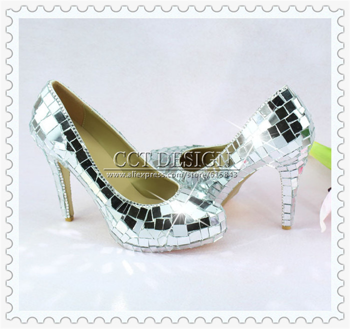 Sexy Ladies Crazy Glitter Mirror High Heels Mirror Pumps Party Prom Evening Shoes With Silver Mirror Pieces Free Shipping<br><br>Aliexpress