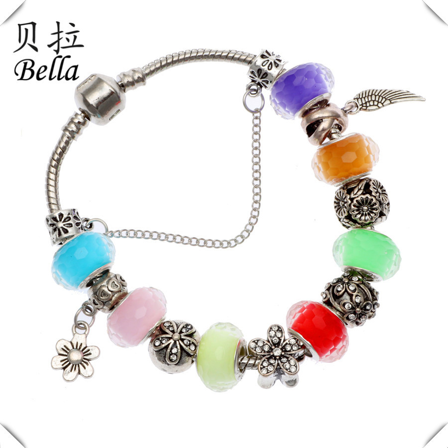 Fashion Colorful Beads Pearl Charm Bracelets&Bangles Fit Europe Bracelet Making Plated Silver Bracelets for Women Bella(China (Mainland))