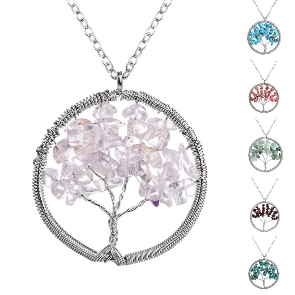 Tree of Life Snake Chain Natural Stone Crystal Pendant Necklace Handmade Symbol Long Solid Brass Necklace for Woman Gift(China (Mainland))