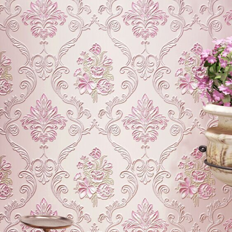 New 3d pastoral wallpaper damask striped wallpaper red for Black white damask wallpaper mural