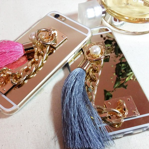Luxury Gold Mirror TPU Phone Case With Metal Rope Pearl tassel for Huawei P9 P8 Lite for LG G3 G4 G5 V10 for Xiaomi Redmi Note 3(China (Mainland))